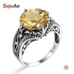 Szjinao Famous Brand Women Overwatch Ring Solid 925 Sterling <b>Silver</b> Yellow Stone Victoria <b>Jewelry</b> Accessories Vintage Rings