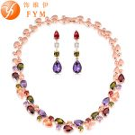 FYM Mona Lisa Luxury Colorful Cubic Zircon <b>Necklace</b> Drop Earrings Rose Gold Color <b>Jewelry</b> Sets For Women Bridal Wedding Party