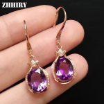 ZHHIRY Real Natural Amethyst Genstone 925 <b>Sterling</b> <b>Silver</b> Drop Earrings For Women Eardrop Dangler Fine <b>Jewelry</b>