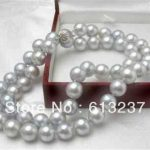 8mm gray shell simulated-pearl round beads free shipping necklace for women fashion chains rope <b>jewelry</b> <b>making</b> 18inch MY2002