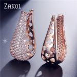 ZAKOL Brand Luxury Bride Wedding <b>Jewelry</b> Micro Inlay Cubic Zircon Big Teardrop Hoop Earrings Sliver Color Earrings FSEP601