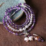 Natural amethyst <b>bracelet</b> glass <b>silver</b> multi-layer multi-turn <b>bracelet</b> to send girlfriend Tanabata Valentine's Day gift