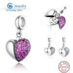 Sterling Silver 925 Bead I Love You Silver Heart Crystal Charms Fit Original Pandora Bracelet DIY for Women <b>Jewelry</b> <b>Making</b>