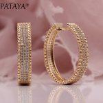 PATAYA New 585 Rose Gold Micro Wax Inlay Natural Zircon Long Big Dangle Earrings Women <b>Wedding</b> Party Extreme Luxury Cute <b>Jewelry</b>
