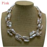 17 inches 20-40mm Natural Pink Thick Hook Shaped Baroque Biwa Pearl Necklace