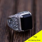 925 Sterling <b>Silver</b> Retro Man-Made Black Agate Torch Ring Men Thai <b>Silver</b> Fine <b>Jewelry</b> Gift Wide Finger Ring CH041621