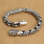 <b>Handmade</b> S925 pure silver Good Luck man bracelet vintage thai silver man bracelet punk bracelet male <b>jewelry</b> gift