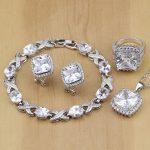 925 Sterling <b>Silver</b> Jewelry White Cubic Zirconia Jewelry Sets For Women Earrings Pendant Necklace Rings <b>Bracelet</b> Free Gifts Box