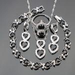 Heart Jewelry Sets For Women Black Stones White CZ Sterling <b>Silver</b> 925 Ring Size 6/7/8/9/10 <b>Bracelet</b> Length 20CM Free Box