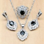 Black CZ White Crystal Beads 925 Sterling Silver Strawber <b>Jewelry</b> Sets For Women Party <b>Accessories</b> Earring/Pendant/Necklace/Ring