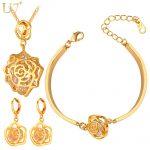 U7 Cubic Zirconia <b>Jewelry</b> Set For Women Gold Color Romantic Rose Flower <b>Necklace</b>/Earrings/Bracelet <b>Jewelry</b> Sets S411