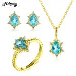 MoBuy Oval Green Apatite Natural Gemstone 100% 925 <b>Sterling</b> <b>Silver</b> 4pcs Yellow Gold <b>Jewelry</b> Sets For Women Fine <b>Jewelry</b> V032ENR