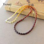 Yoowei Amber Necklace Wholesale Seed Bead Gemstone 100% Genuine Poland Imported <b>Silver</b> Clasp Handmade Bijoux Women Amber <b>Jewelry</b>
