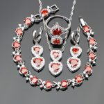 Bridal <b>Silver</b> 925 Costume Jewelry Sets For Women Red Stones White CZ Ring Size 6/7/8/9/10 <b>Bracelet</b> Length 20CM Free Jewelry Box