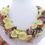 NEW !! Black Onyx&Pink Coral <b>Necklace</b> Free+shippment