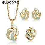 Blucome Dubai Style Flower Shape Enamel <b>Jewelry</b> Sets Gold Color Chain <b>Necklace</b> Earrings Ring Set Women Lady Party Brand Bijoux