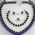 Women's Wedding noble designed black GEM necklace, earings, bracelet ring(7-10#) <b>jewelry</b> sets real silver-<b>jewelry</b>