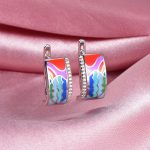 RainMarch Vintage Silver Enamel Stud Earrings For Women Engagement 925 Sterling Silver Earring <b>Handmade</b> Enamel Party <b>Jewelry</b>