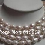 "Fashion style lengthen 9-10mm white rice cultured akoya pearl <b>making</b> necklace <b>jewelry</b> 48""GE4031"