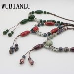 WUBIANLU New Bohemia Style <b>Antique</b> Color Ceramics Beads Ethnic Long Sweater Chain Necklace For Women Statement Fashion <b>Jewelry</b>