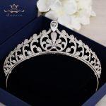 Bavoen Elegant Clear Full Zircon Brides Crowns Tiaras Silver Crystal <b>Wedding</b> Hairbands Leaves Bridal Hair Accessories <b>Jewelry</b>