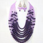 Bohemia fashion women purple shell pearl crystal beads 7 rows necklace earrings charms <b>handmade</b> <b>jewelry</b> set 19-27.5inch B1313