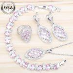 Pink Zircon Women 925 <b>Silver</b> Jewelry Sets Costume Earrings With Stones Set of Jewelery Pendant&Necklace Rings <b>Bracelet</b> Gift Box