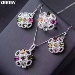 ZHHIRY Natural Tourmaline Gems Jewelry Sets Genuine 925 Solid Sterling <b>Silver</b> For Women Ring <b>Earrings</b> Necklace Pendant set