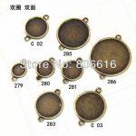 (Plz choose size) 50Pcs <b>Antique</b> Bronze Alloy Double Hook Round Collet Cork Base Making <b>Jewelry</b> Accessories Findings