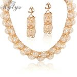 Mytys 2018 New Fashion Cubic Zircon Mesh design gold mesh net <b>Jewelry</b> sets for women N414
