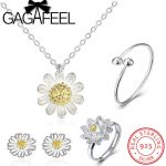GAGAFEEL 100% 925 Sterling Silver <b>Jewelry</b> Set Daisy Flower White Enamel Sterling Silver <b>Necklace</b> Earrings Ring Bangle <b>Jewelries</b>