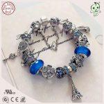 Hot Sale Top Quality Famous Brand Luxuxious Shinning Blue <b>Silver</b> Charm Series 925 Real <b>Silver</b> Mutiple Charms <b>Bracelet</b>