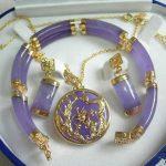 Wholesale price 16new ^^^^Hot sale Lucky Purple stone Pendant Bracelet and Earring Set