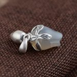 FNJ 925 Silver Flower Pendant Stone 100% Pure S990 Solid Thai Silver Pendants for Women Men <b>Jewelry</b> <b>Making</b>