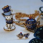 exquisite teapot cup series pendant stud earring necklace set