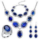 Mystic Monatan Blue Zircon 925 <b>Silver</b> Costume Jewelry Sets Women Earrings Rings Pendant Necklace <b>Bracelets</b> Set Jewelery
