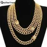 Top Quality Iced Out Bling CZ Miami Cuban Link Chain Men's Hip hop <b>Necklace</b> Golden <b>Silver</b> Copper Jewelry 18/20/24/28 Inch