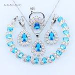 L&B Classic Australia Blue Opal White Zircon <b>silver</b> 925 Jewelry Sets For Women <b>Bracelet</b>/Pendant/Necklace/Earrings/Ring