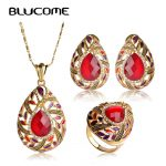 Blucome Red Water Drop Shape <b>Jewelry</b> Sets Resin <b>Necklace</b> Earrings Ring Set Pendant Crystal Antique Gold-color Women Lady Bijoux