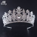 Snuoy Bridal Hair Accessories Vintage Silver Leaf Tiara and Crown For Women Pageant <b>Wedding</b> Hair <b>Jewelry</b> Queen Diadem