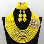 Yellow Nigerian Beads Set Marvelous Bridal <b>Jewelry</b> Sets <b>Handmade</b> Item Large Stock Wholesale ABW180