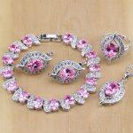 Vintage 925 Sterling <b>Silver</b> Jewelry Pink Zircon Jewelry Sets For Women Wedding Earrings/Pendant/Necklace/Rings/<b>Bracelet</b>