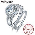 JQueen 3.45ct 925 <b>Sterling</b> <b>Silver</b> ring set vintage ring Round White Topaz <b>jewelry</b> Wedding Rings For Women s925 <b>silver</b>