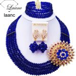 Laanc <b>Handmade</b> Royal Blue Crystal Beaded Necklace Nigerian Wedding African Beads <b>Jewelry</b> Set for Women 5DS012
