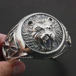 Huge Heavy Lion Knight King Cross 925 Sterling <b>Silver</b> Mens <b>Bracelet</b> Bangle 9A003
