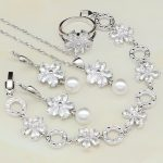 925 Sterling <b>Silver</b> Jewelry White Cubic Zirconia with Pearls Jewelry Sets For Women <b>Bracelets</b>/Necklace/Pendant/Earrings/Ring
