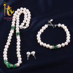 NYMPH Pearl Jewelry Set with box 8-9mm Natural Fresh Water Necklace/<b>Earrings</b>/Bracelet Party For Women T227