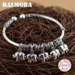 BALMORA Solid 925 Sterling <b>Silver</b> Elephant Open Bangles for Women Girl Gifts Retro <b>Bracelets</b> Cute Animal <b>Silver</b> Jewelry SZ0291