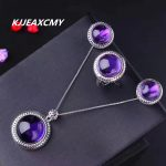KJJEAXCMY fine jewelry Amethyst jewelry set bare stone size round 925 sterling <b>silver</b> platinum factory direct sales