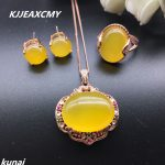 KJJEAXCMY Fine jewelry, S925 sterling plated rose gold set with natural garnet, female Pendant Necklace, two suits